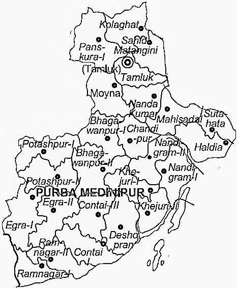 Medinipur East District  Map . Surrounded by 24 Paraganas South District ,Kolkata District ,Howrah District , .