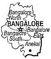 Bangalore District  Map . Surrounded by Bangalore Rural District ,Ramanagara District ,Chikballapur District , .