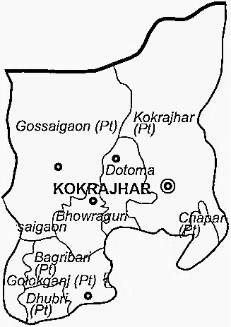 Kokrajhar District  Map . Surrounded by Bongaigaon District ,Goalpara District ,Dhubri District , .