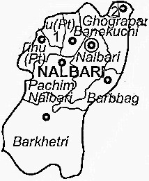 Nalbari District  Map . Surrounded by Baksa District ,Kamrup Metro District ,Kamrup District , .