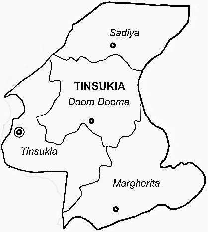 Tinsukia District  Map . Surrounded by Dibrugarh District ,Changlang District ,Tirap District , .