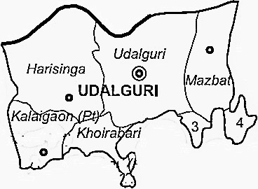 Udalguri District  Map . Surrounded by Darrang District ,Marigaon District ,Baksa District , .