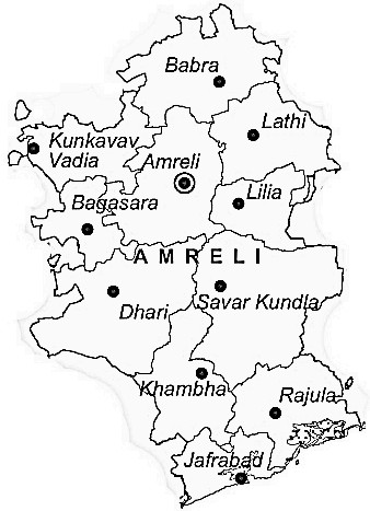 Amreli District  Map . Surrounded by Junagadh District ,Rajkot District ,Bhavnagar District , .