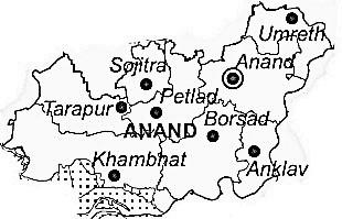 Anand District  Map . Surrounded by Vadodara District ,Kheda District ,Ahmadabad District , .