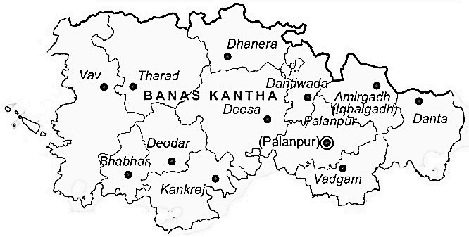 Banas Kantha District  Map . Surrounded by Patan District ,Mahesana District ,Sabar Kantha District , .