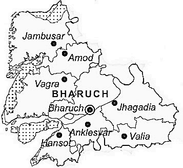 Bharuch District  Map . Surrounded by Surat District ,Narmada District ,Vadodara District , .