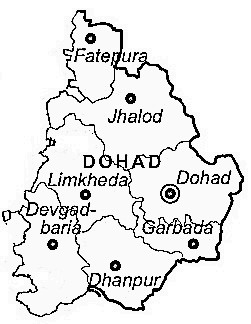 Dohad District  Map . Surrounded by Jhabua District ,Alirajpur District ,Panch Mahals District , .