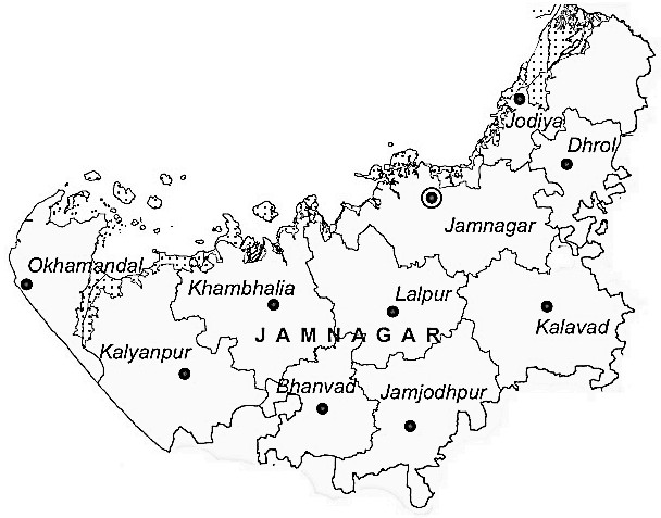 Jamnagar District  Map . Surrounded by Rajkot District ,Porbandar District ,Junagadh District , .