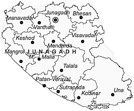 Junagadh District  Map . Surrounded by Amreli District ,Porbandar District ,Rajkot District , .