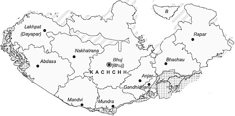 Kachchh District  Map . Surrounded by Jamnagar District ,Rajkot District ,Porbandar District , .