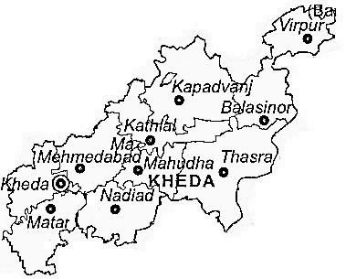 Kheda District  Map . Surrounded by Ahmadabad District ,Anand District ,Gandhinagar District , .