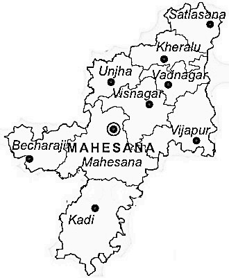 Mahesana District  Map . Surrounded by Patan District ,Gandhinagar District ,Sabar Kantha District , .