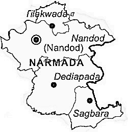 Narmada District  Map . Surrounded by Bharuch District ,Nandurbar District ,Vadodara District , .