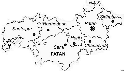 Patan District  Map . Surrounded by Mahesana District ,Banas Kantha District ,Gandhinagar District , .