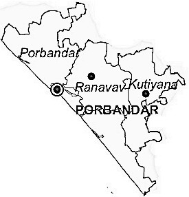Porbandar District  Map . Surrounded by Junagadh District ,Jamnagar District ,Rajkot District , .