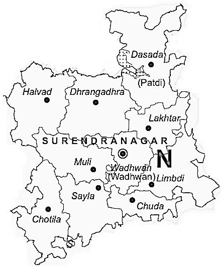 Surendranagar District  Map . Surrounded by Rajkot District ,Ahmadabad District ,Kheda District , .