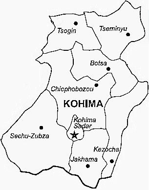 Kohima District  Map . Surrounded by Phek District ,Dimapur District ,Wokha District , .
