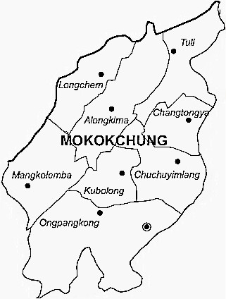 Mokokchung District  Map . Surrounded by Tuensang District ,Zunheboto District ,Wokha District , .