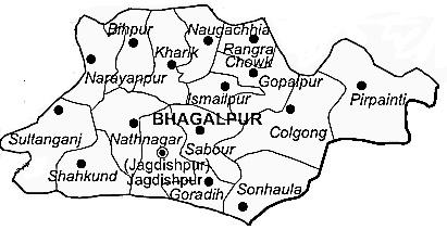 Bhagalpur District  Map . Surrounded by Banka District ,Godda District ,Munger District , .