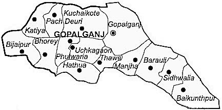Gopalganj District  Map . Surrounded by Siwan District ,Pashchim Champaran District ,Purbi Champaran District , .