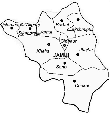 Jamui District  Map . Surrounded by Lakhisarai District ,Sheikhpura District ,Munger District , .
