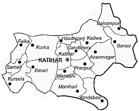 Katihar District  Map . Surrounded by Purnia District ,Sahebganj District ,Araria District , .