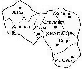 Khagaria District  Map . Surrounded by Munger District ,Begusarai District ,Saharsa District , .