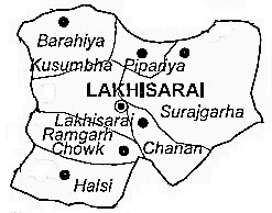 Lakhisarai District  Map . Surrounded by Sheikhpura District ,Begusarai District ,Jamui District , .