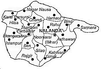 Nalanda District  Map . Surrounded by Sheikhpura District ,Nawada District ,Jehanabad District , .