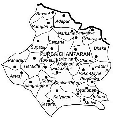 Purbi Champaran District  Map . Surrounded by Sheohar District ,Pashchim Champaran District ,Gopalganj District , .