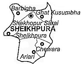 Sheikhpura District  Map . Surrounded by Lakhisarai District ,Nalanda District ,Nawada District , .