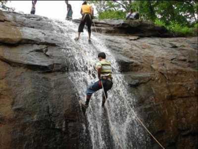 Rapelling spot near waterfall