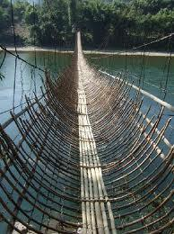 The hanging bamboo bridge.