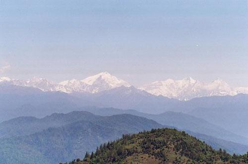 View of Eastern Himalayan peaks from Bomdila top