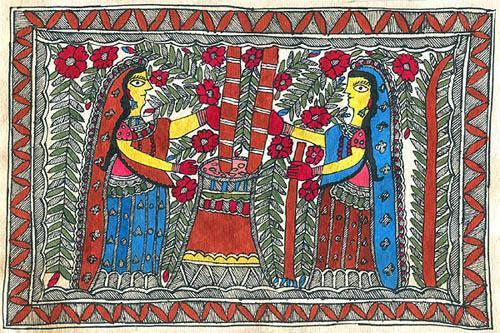 Aspect of daily life of madhubani women