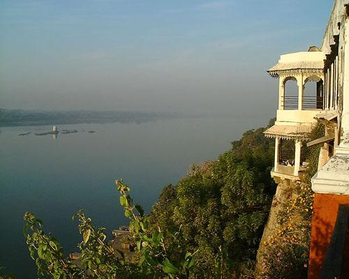 A scenic view of Narmada from top of the fort