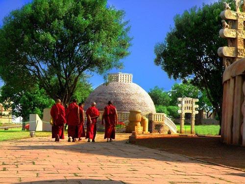 Monks visiting the Sanchi Stupa