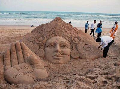 Sand Sculpture of Goddess Durga Puri Beach