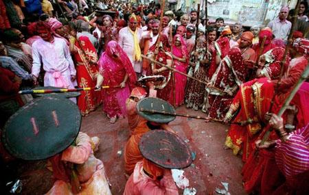Lath mar Holi being played in Barsana, Uttar Pradesh