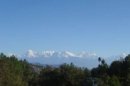 Clear skies and a wonderful view from cottage at Kalmatia Sangam Almora