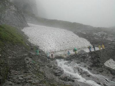 Pilgrims crossing the HemkundGlacier to reach Hemkund Sahib