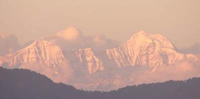 Himalayas at dusk from Mussoorie, Uttarakhand.