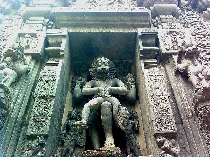 Lord narasimha rock statue