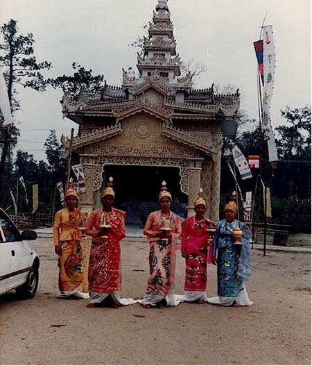 Khamti girls in ceremonial attire during Sangken festival