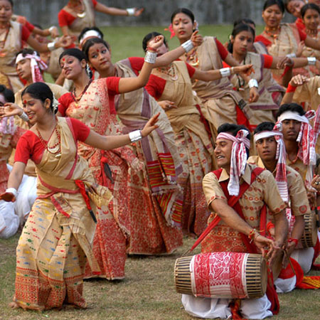 Bihu dancers of Assam