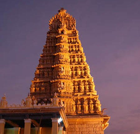 Hill Temple Evening View Chamundi Temple atop hill