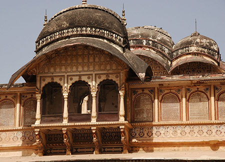 JAI Karauli in Rajasthan City Palace balcony overlooking outer courtyard