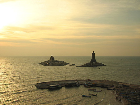 Vivekananda Rock & Valluvar Statue at Sunrise