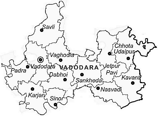 Map Of Vadodara Vadodara District   Vadodara District Map